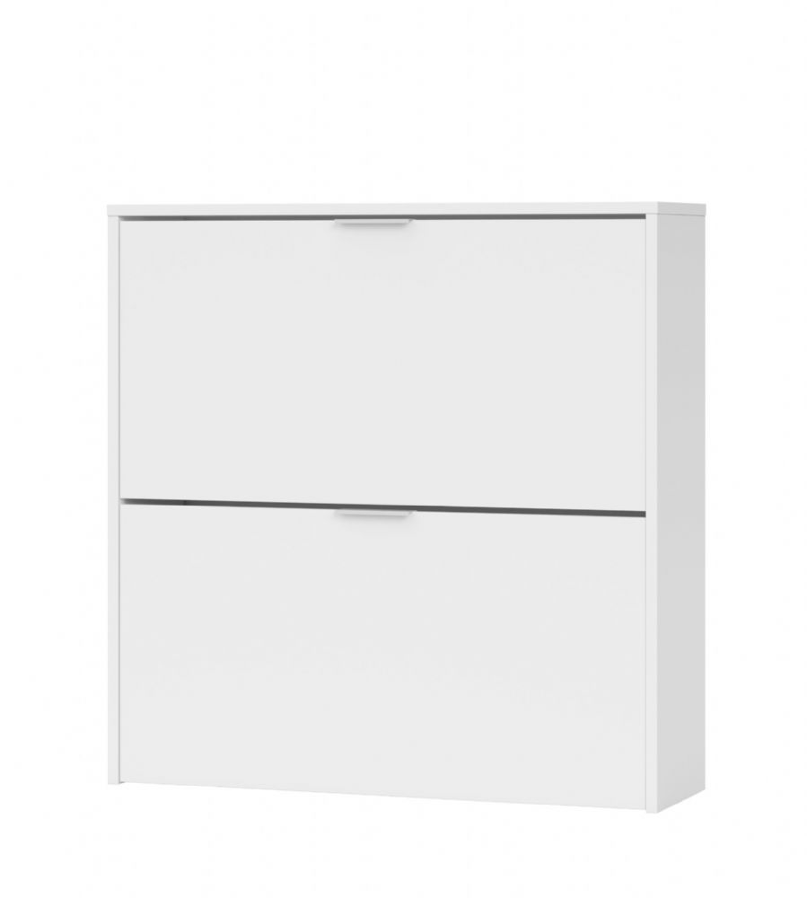 Brilo Matt White 2 Drawer Shoe Cabinet - 2893